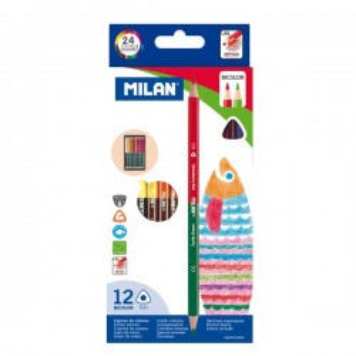 Estuche 12 lápices bicolor Duo Milan colores surtidos