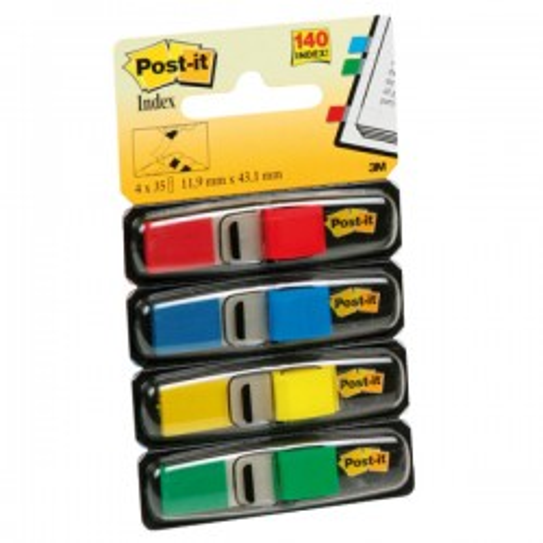 Dispensador Post-it Index  pequeños 12x43,1mm. 35 índices x color:  Verde, Amarillo, Azul y Rojo