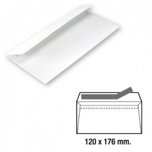 Caja 500 sobres 90g. Cierre tira de silicona Comercial 120x176mm. Blanco
