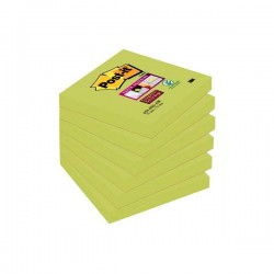 Pack 6 blocs notas Post-it Super Sticky 76x76mm. Verde Espárrago