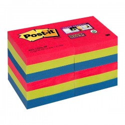 Pack 12 blocs notas Post-it Super Sticky 47,6x47,6mm. Bora Bora