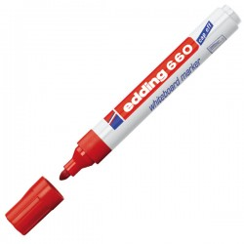 Marcador pizarra blanca edding 660 Punta cónica. Trazo 1,5-3mm. Rojo