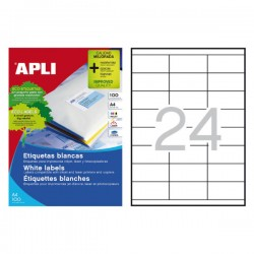 Caja 100h. etiquetas Apli para inkjet, láser y fotocopiadora. Cantos rectos70X35mm. 2400 etiquetas