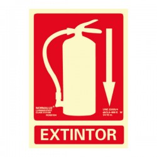 "Señal ""Extintor"" homologada clase B 300x210mm."