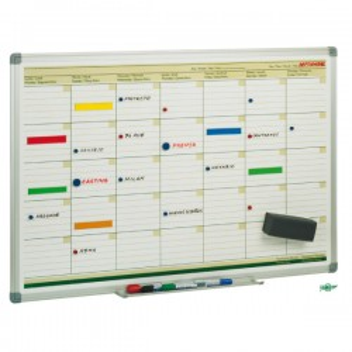Planning mensual Faibo marco de aluminio. Incluye portarrotuladores. 60x90cm.